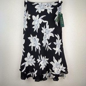 NWT Lauren Ralph Lauren 100%Silk Floral Midi Skirt